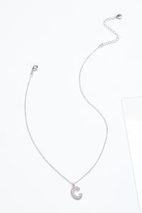 Rhinestone C Pendant Necklace