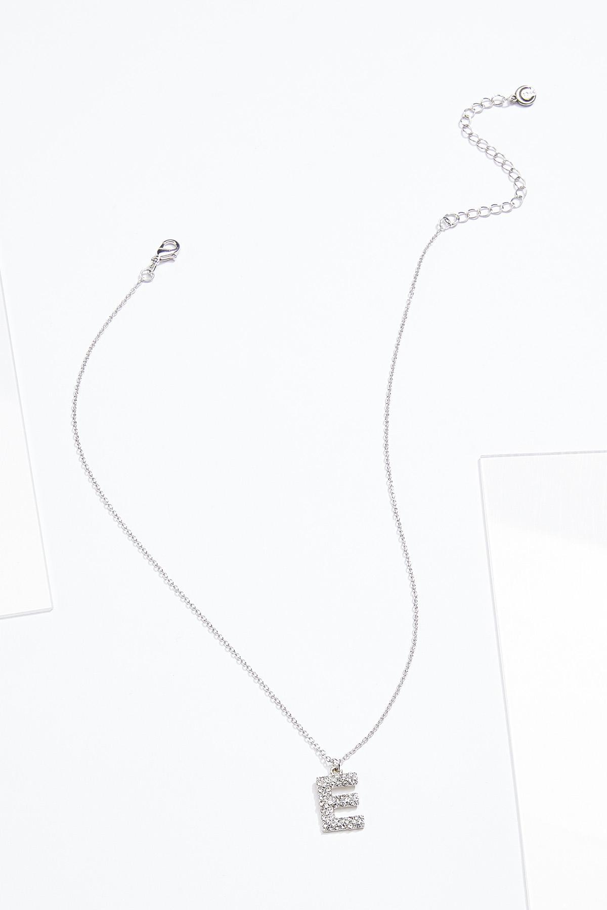 Rhinestone E Pendant Necklace