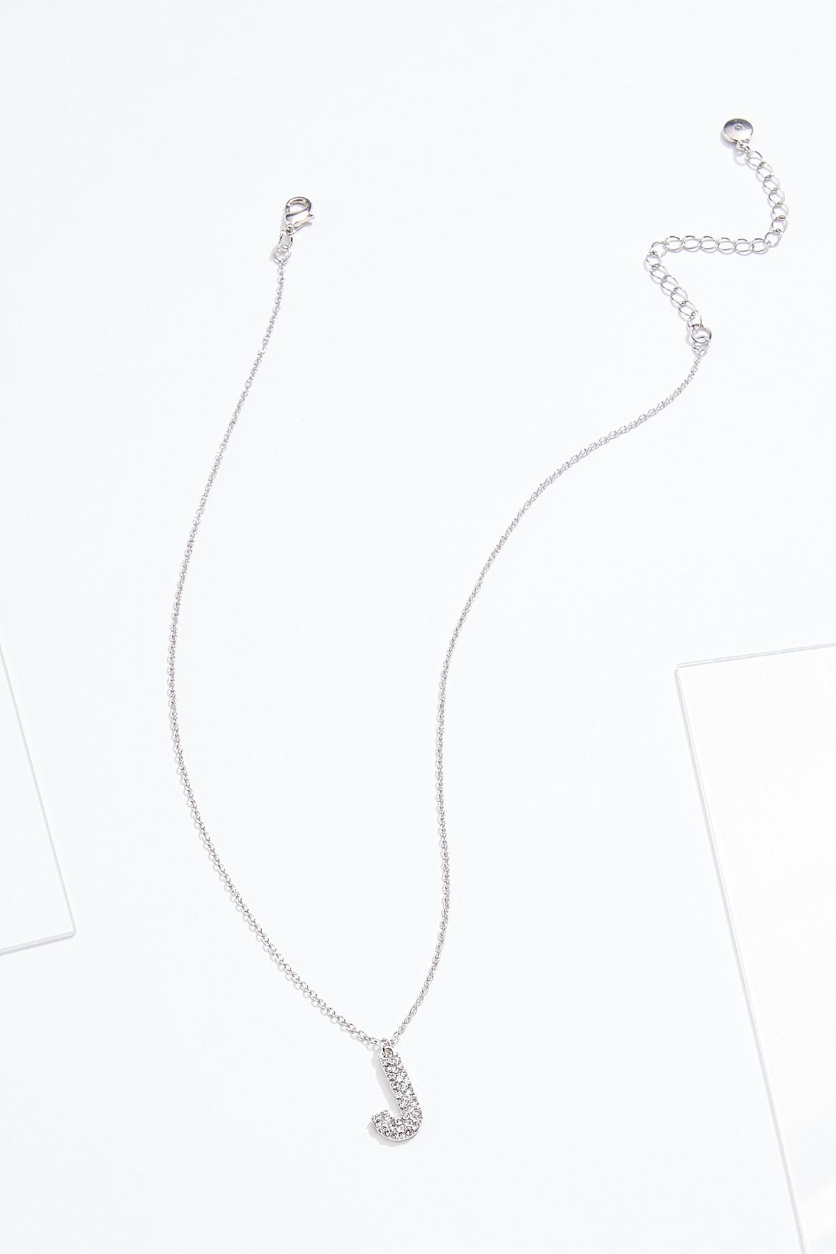 Rhinestone J Pendant Necklace