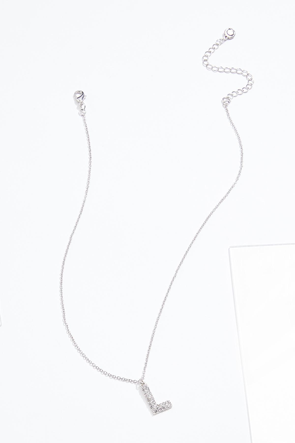 Rhinestone L Pendant Necklace