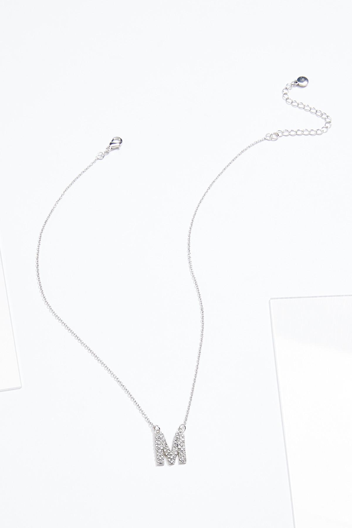 Rhinestone M Pendant Necklace