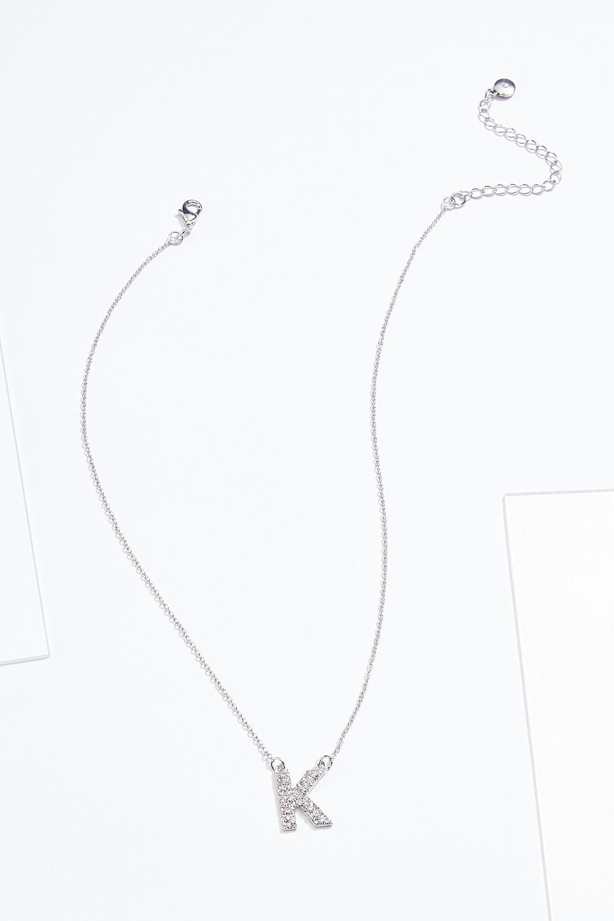 Rhinestone K Pendant Necklace