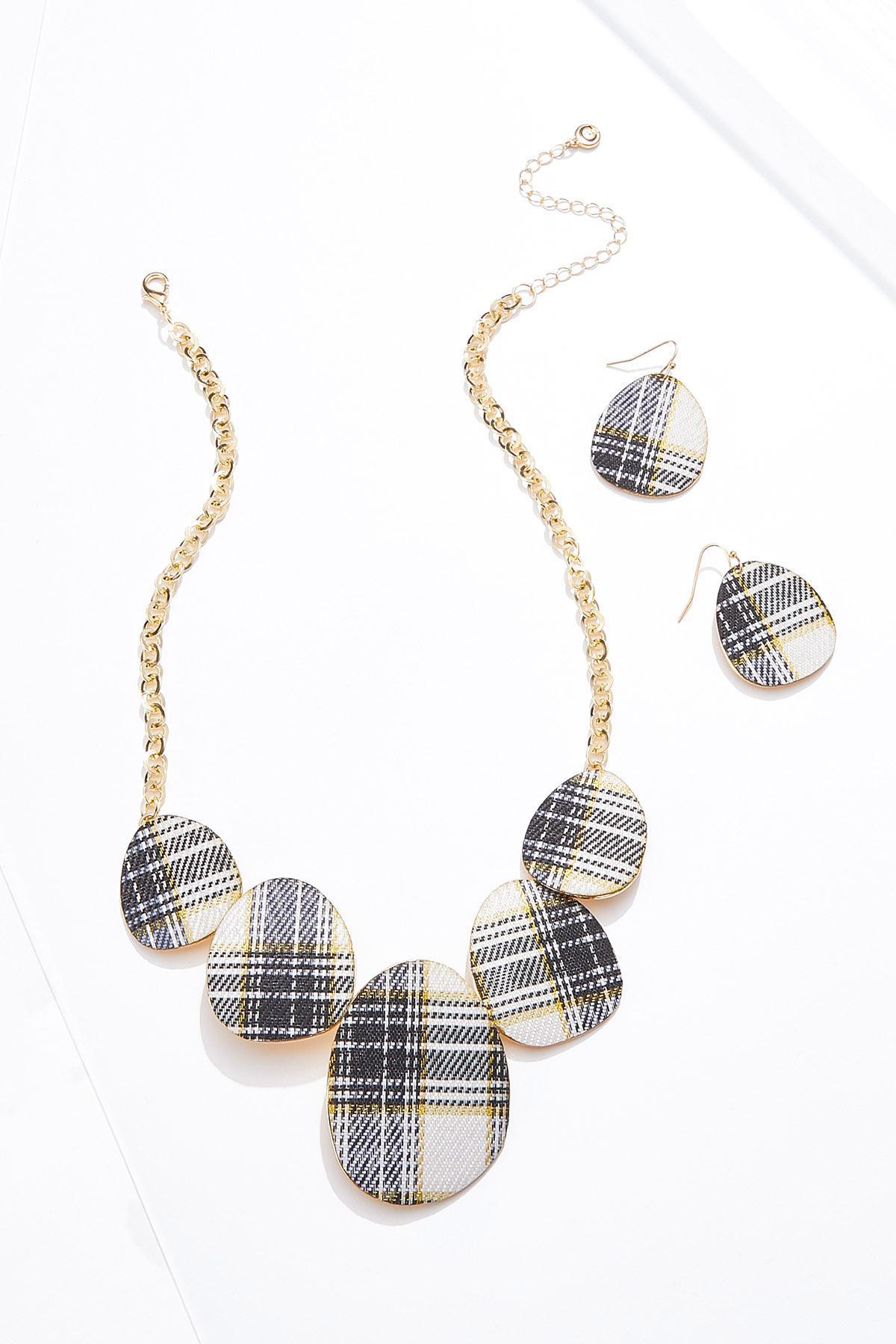 Plaid Faux Leather Necklace Earring Set
