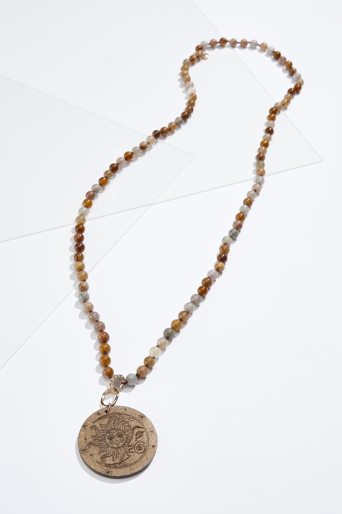 Wooden Celestial Pendant Necklace