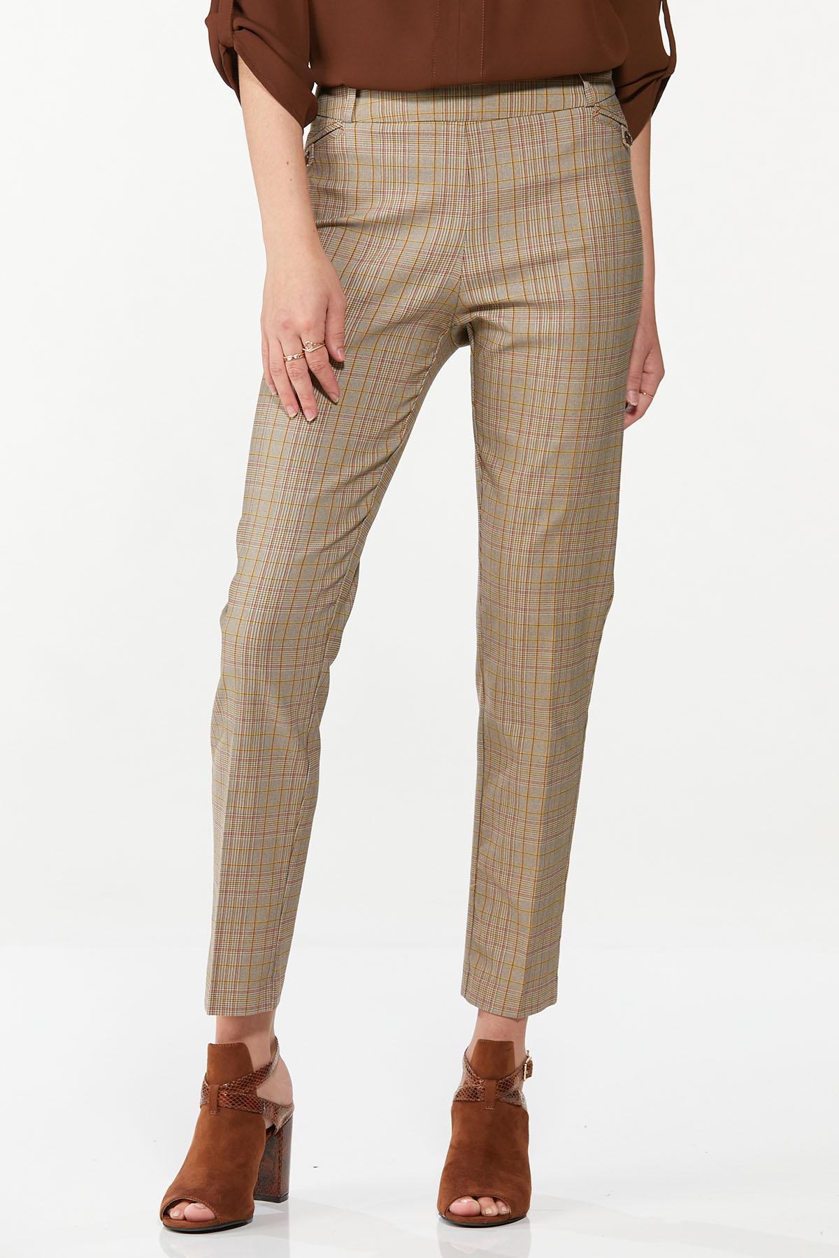 Slim Plaid Pants