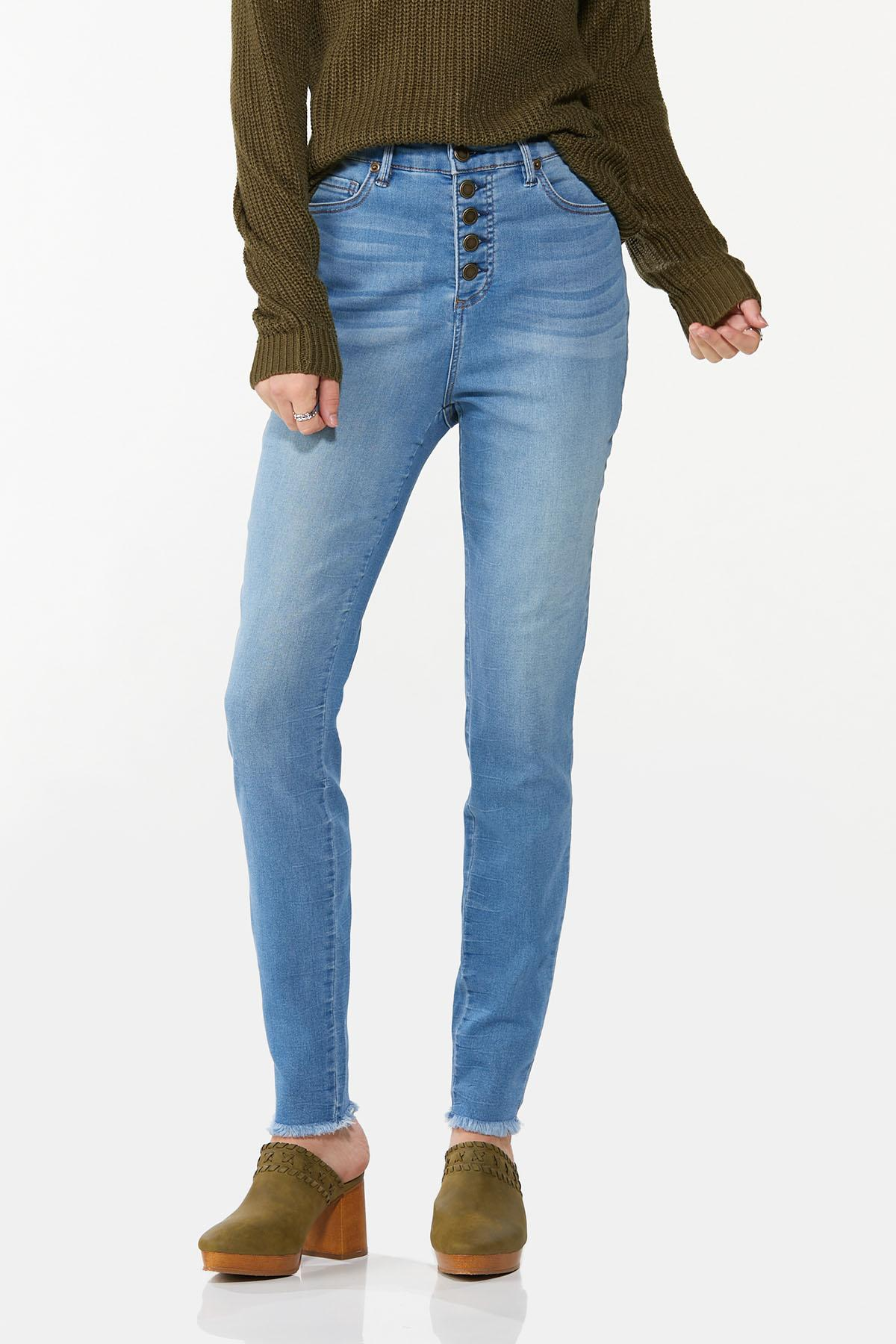 Frayed Button Fly Jeans
