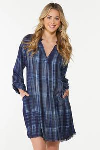 Plus Size Ombre Plaid Shirt Dress