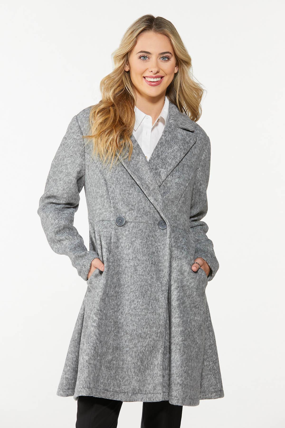 Plus Size Double Button Long Coat