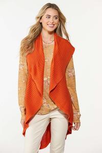 Plus Size Solid Circle Cardigan Sweater