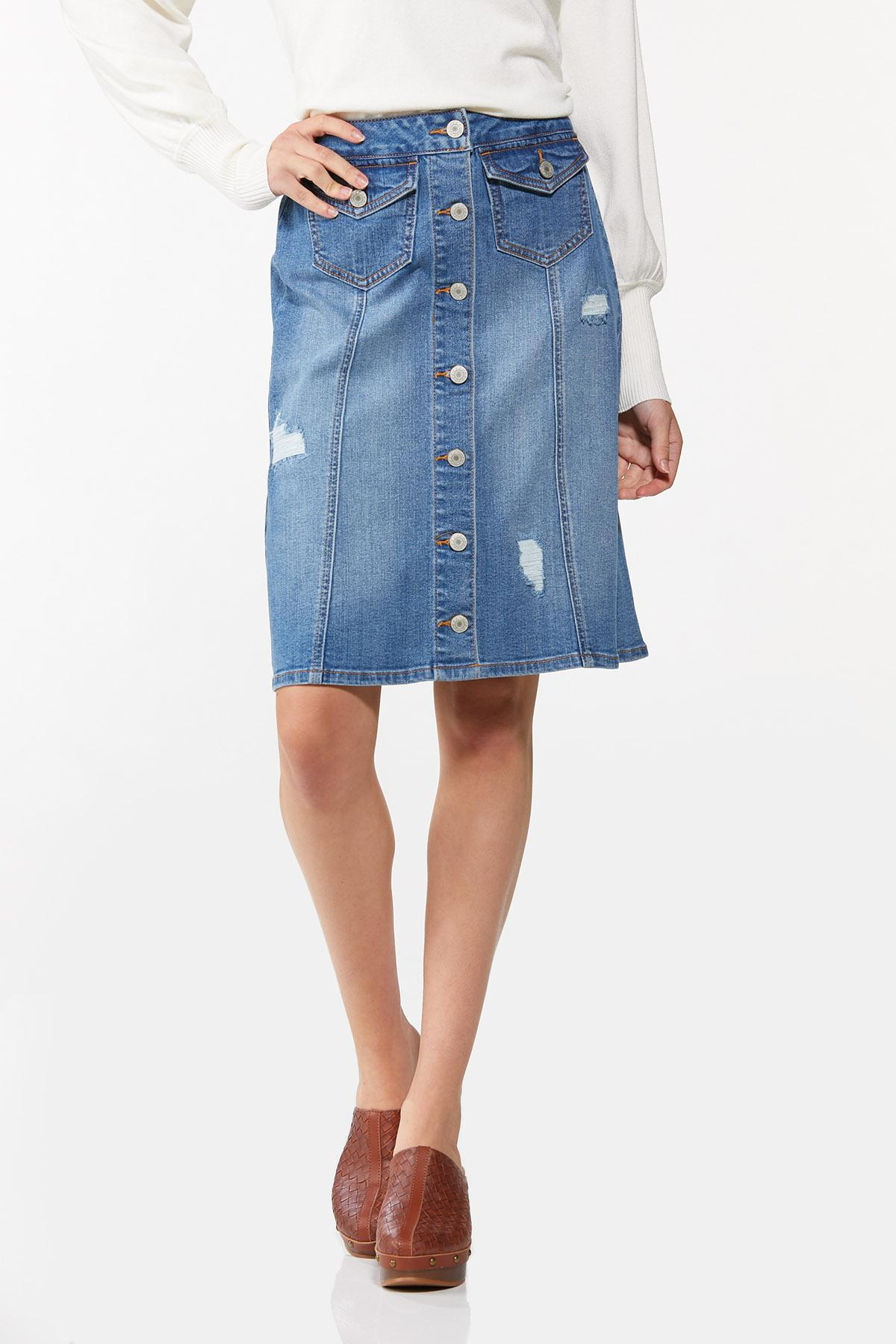 Button Front Denim Skirt