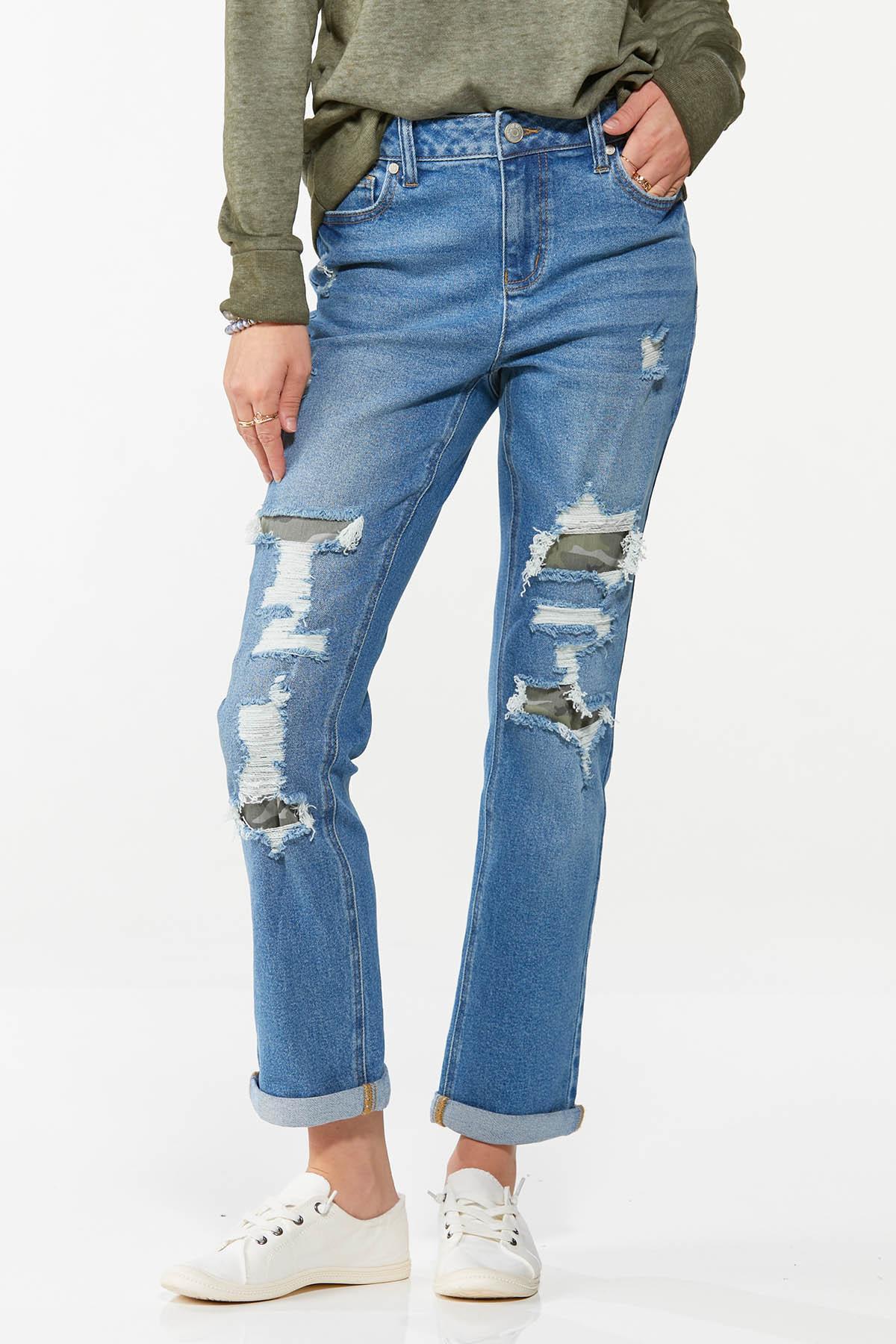 Camo Rip Repair Boyfriend Jeans