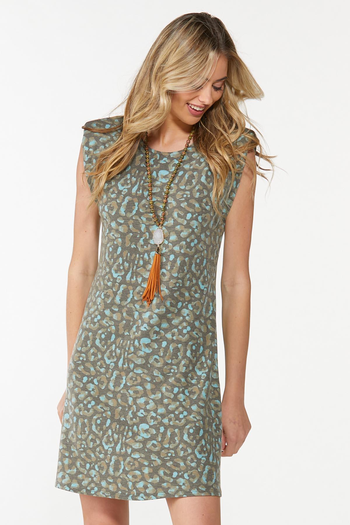 Leopard Padded Shoulder Dress