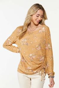 Cinched Floral Waffle Top