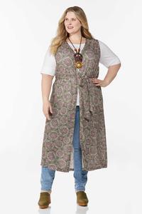 Plus Size Allover Print Belted Vest