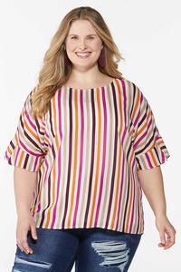 Plus Size Berry Stripe Top
