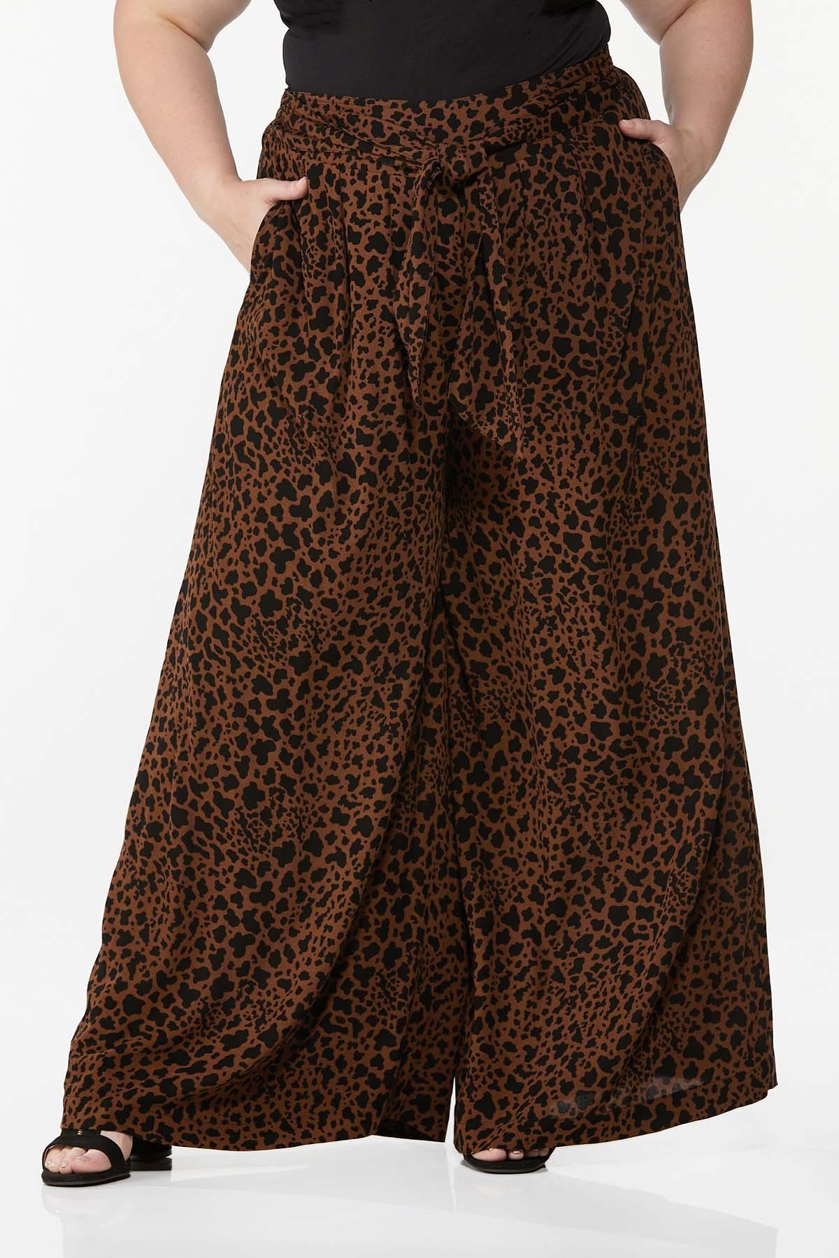 Plus Size Leopard Wide Leg Pants