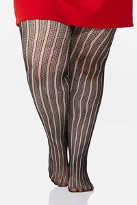 Plus Size Linear Crochet Tights