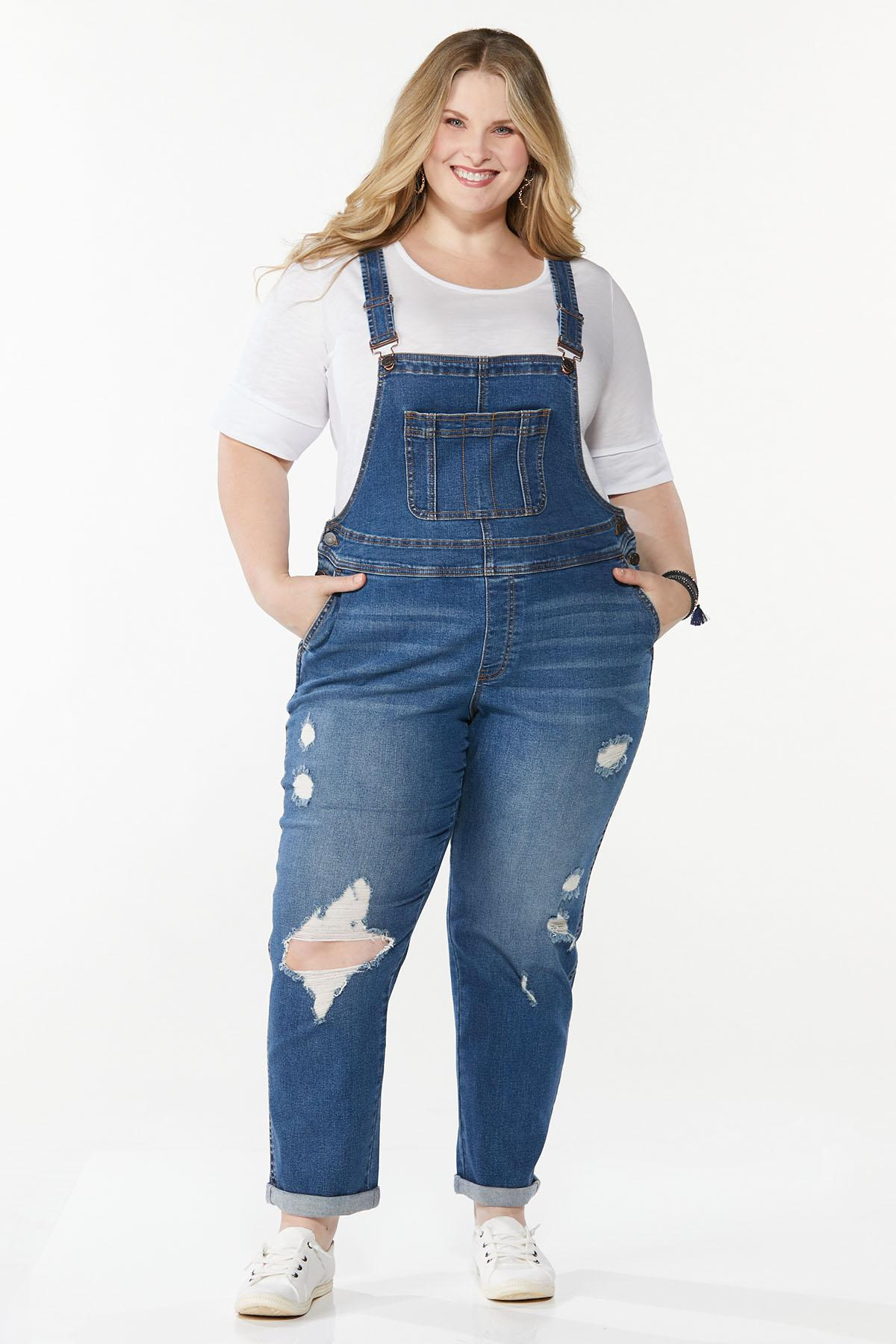 Plus Size Distressed Overalls