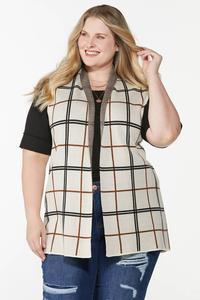 Plus Size Jacquard Plaid Vest