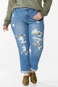Plus Size Camo Rip Repair Boyfriend Jeans