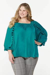 Plus Size Silky Ruffled Sleeve Top