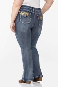Plus Size Stone Leopard Pocket Jeans