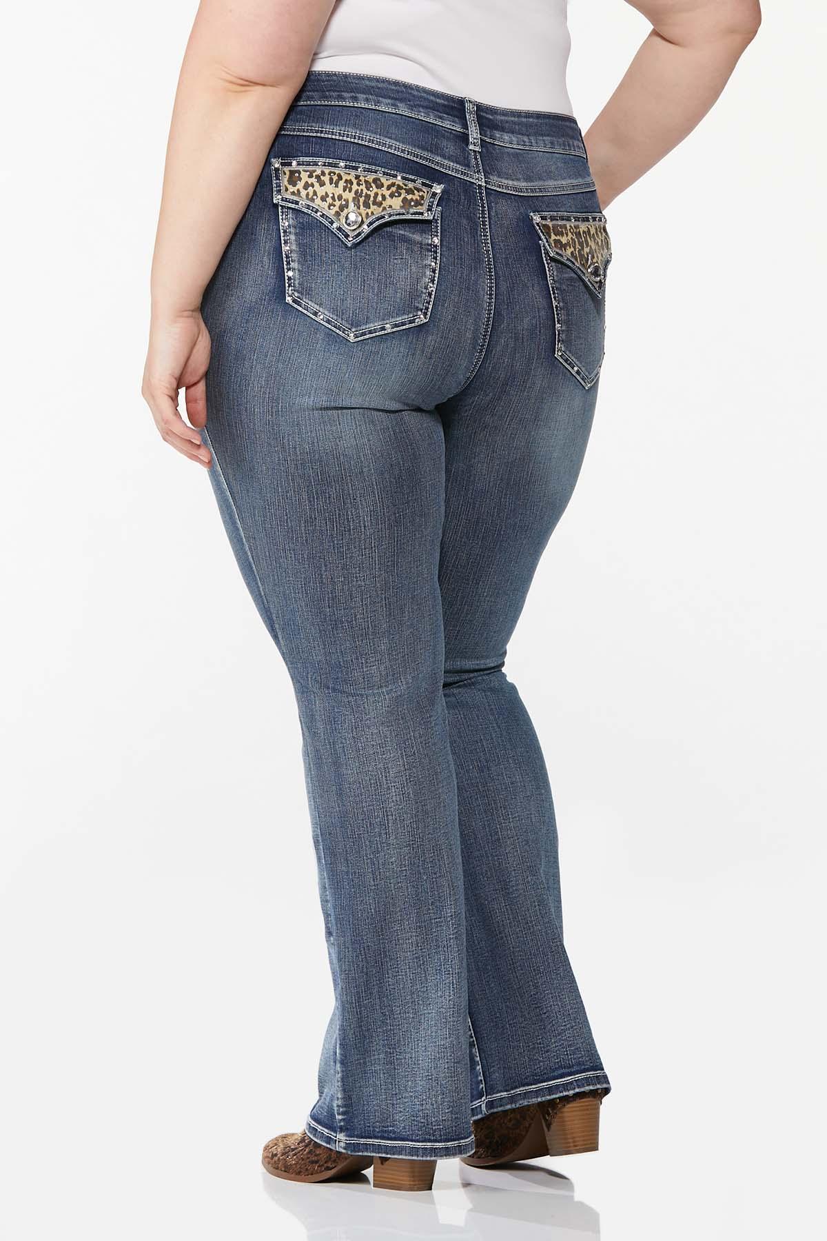 Plus Petite Stone Leopard Pocket Jeans