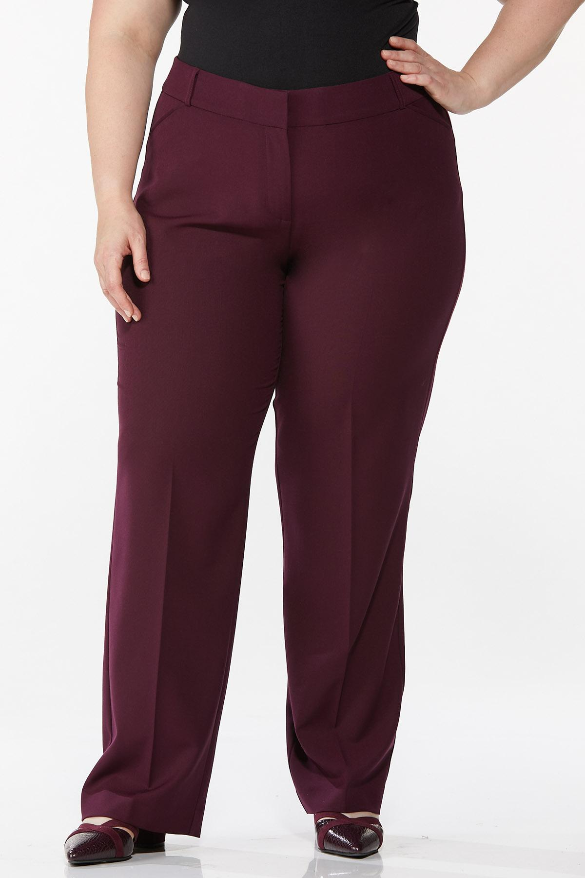 Plus Size Curvy Wine Trousers
