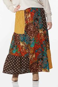 Plus Size Autumn Patchwork Maxi Skirt