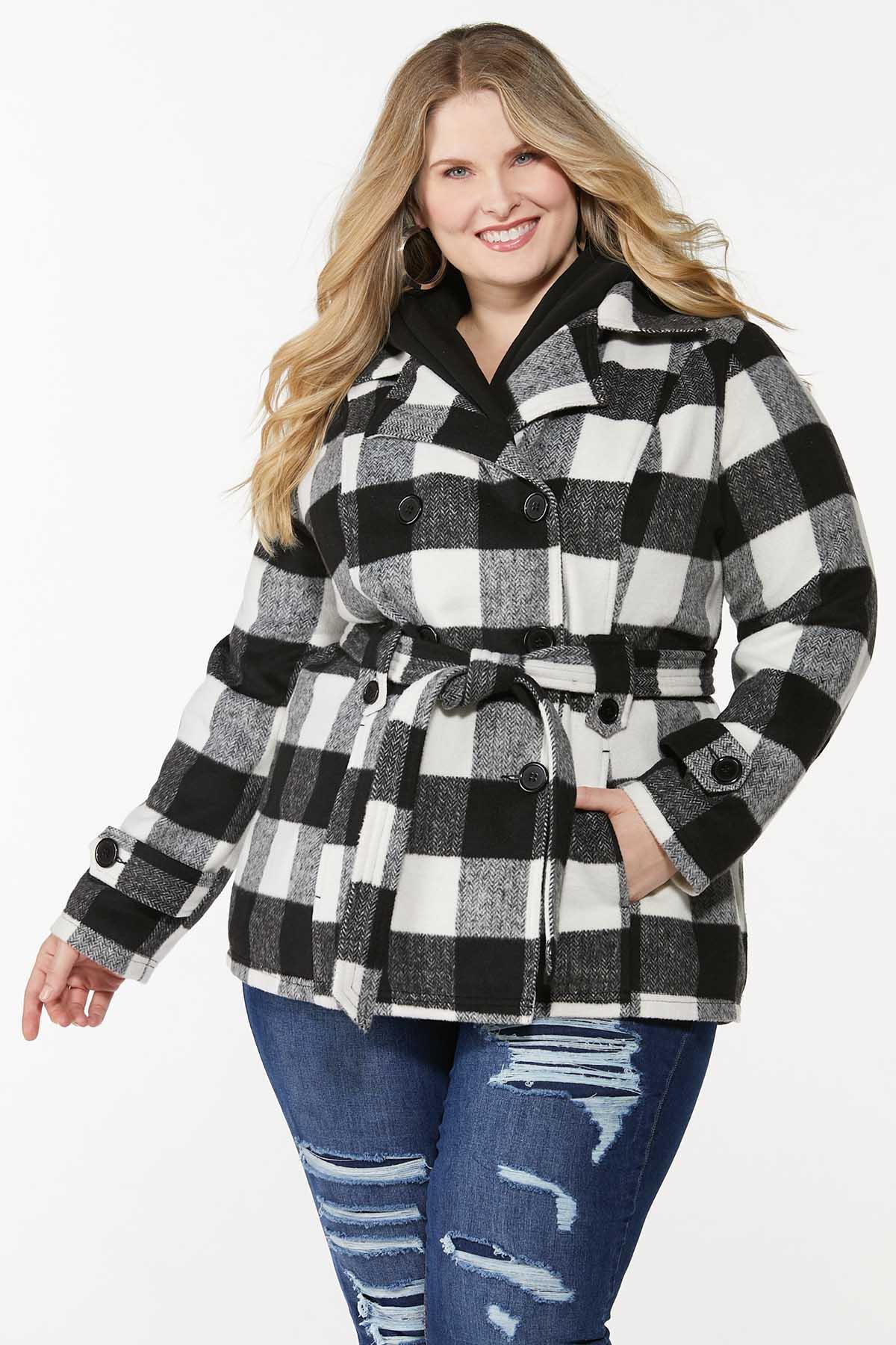 Plus Size Buffalo Plaid Belted Coat
