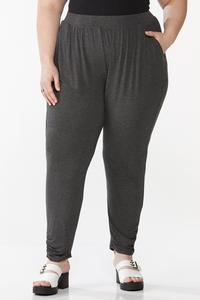Plus Size Charcoal Pull-On Pants
