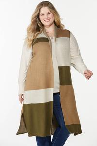Plus Size Colorblock Sleeveless Sweater