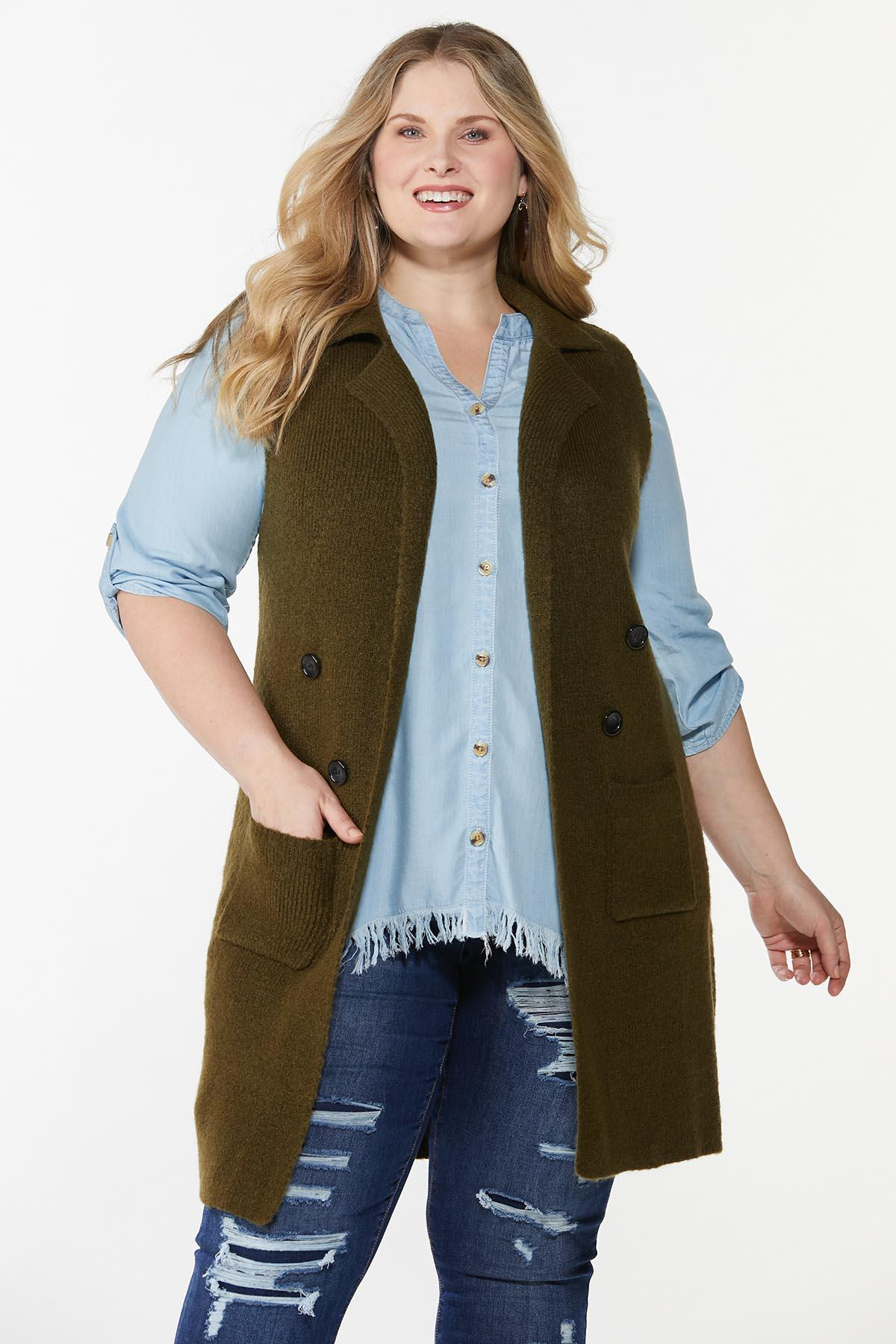 Plus Size Olive Sweater Vest
