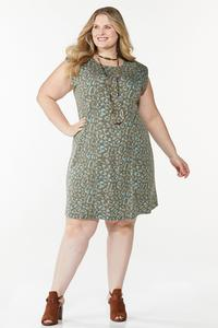 Plus Size Leopard Padded Shoulder Dress