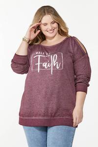 Plus Size Faith Cold Shoulder Sweatshirt