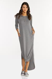 Plus Size Knotted French Terry Maxi Dress