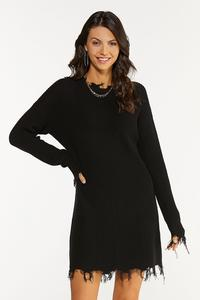Plus Size Frayed Sweater Dress