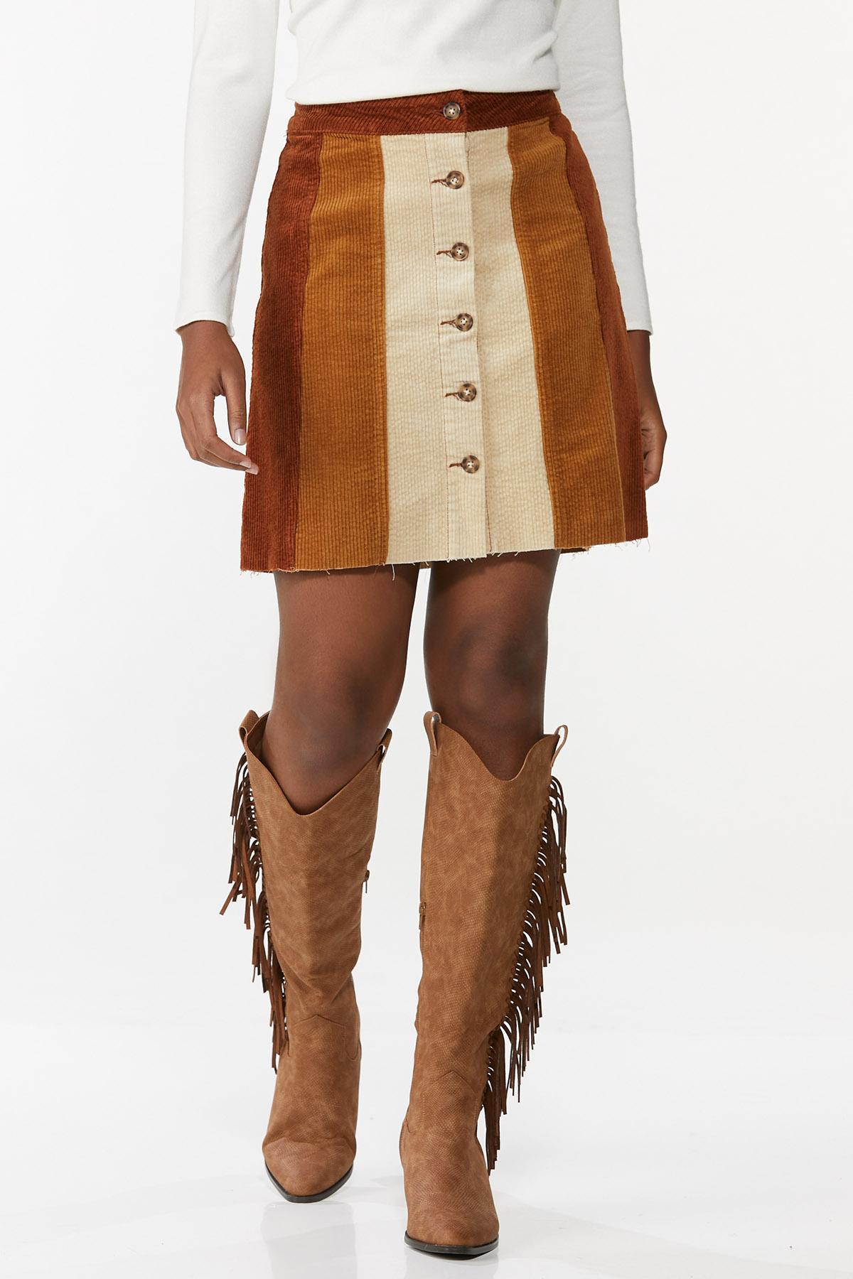 Colorblock Corduroy Mini Skirt