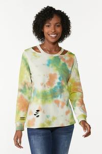 Plus Size Cutout Tie Dye Sweatshirt