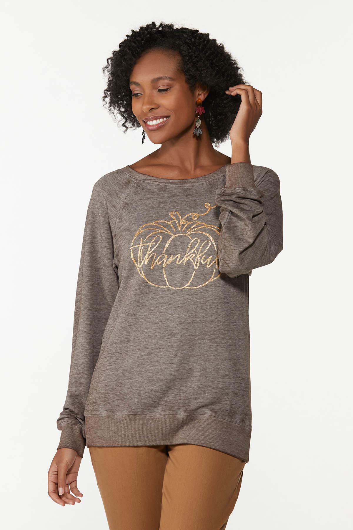 Plus Size Glittery Thankful Sweatshirt
