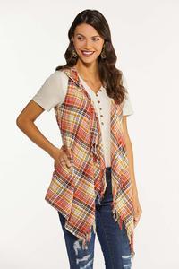 Plus Size Pumpkin Spice Plaid Vest