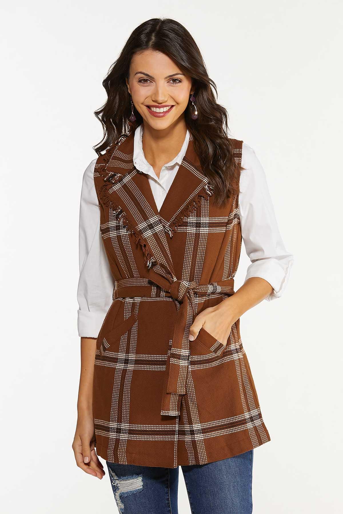 Plus Size Belted Plaid Vest