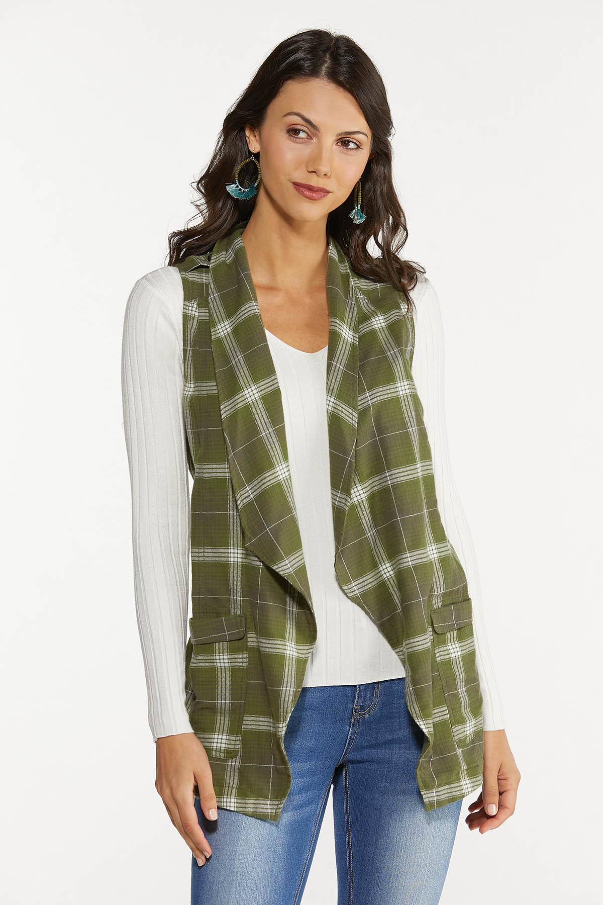Plus Size Green Plaid Vest