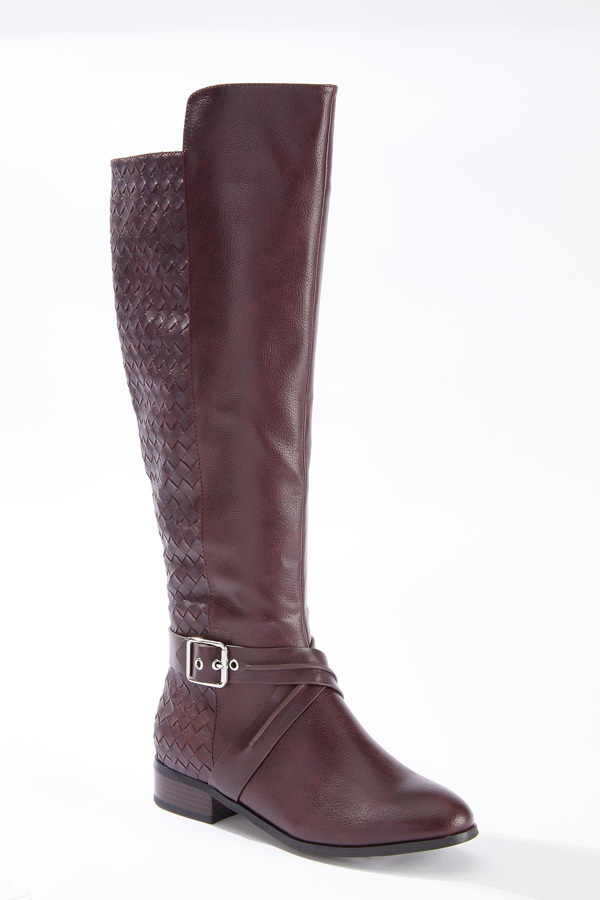 Wide Width Woven Effect Riding Boots