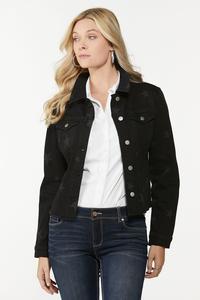 Plus Size Black Star Denim Jacket