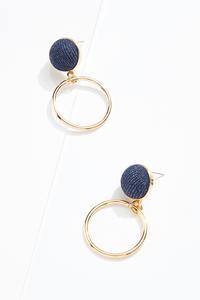 Denim Circle Dangle Earrings