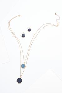 Denim Disc Layered Necklace Set