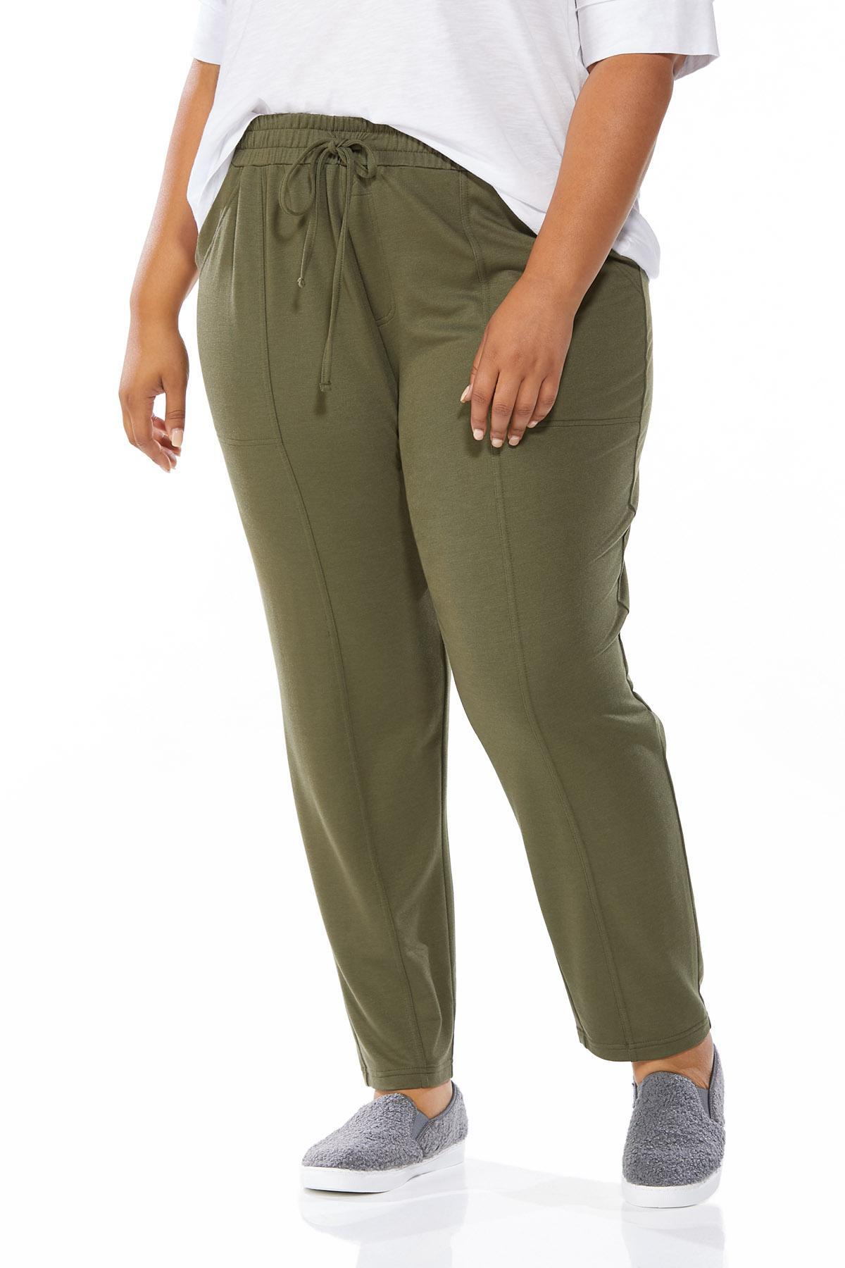 Plus Size Soft Olive Pants