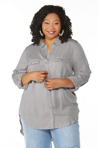 Plus Size Faded Wash Button Down Shirt