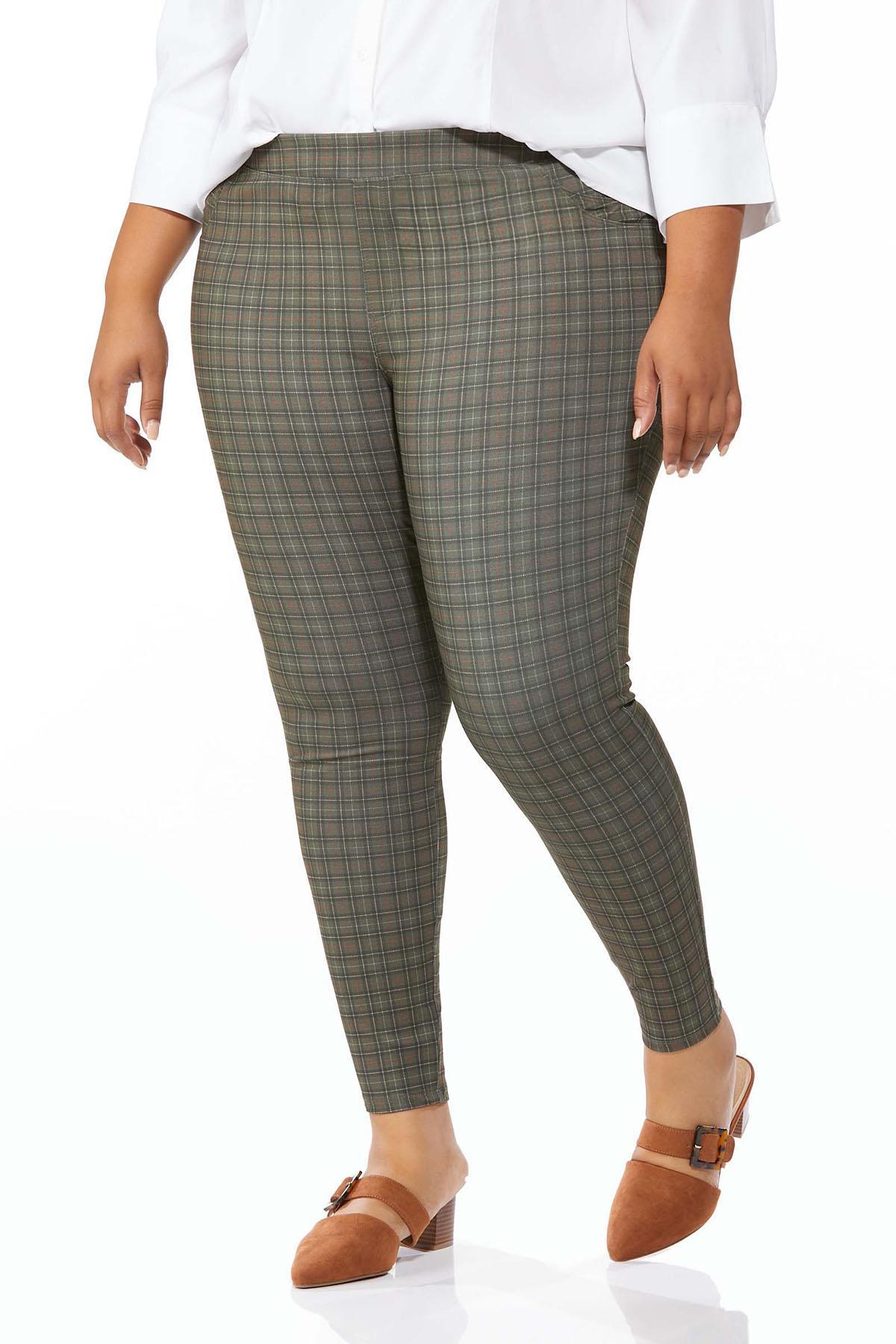 Plus Size Plaid Ponte Pants